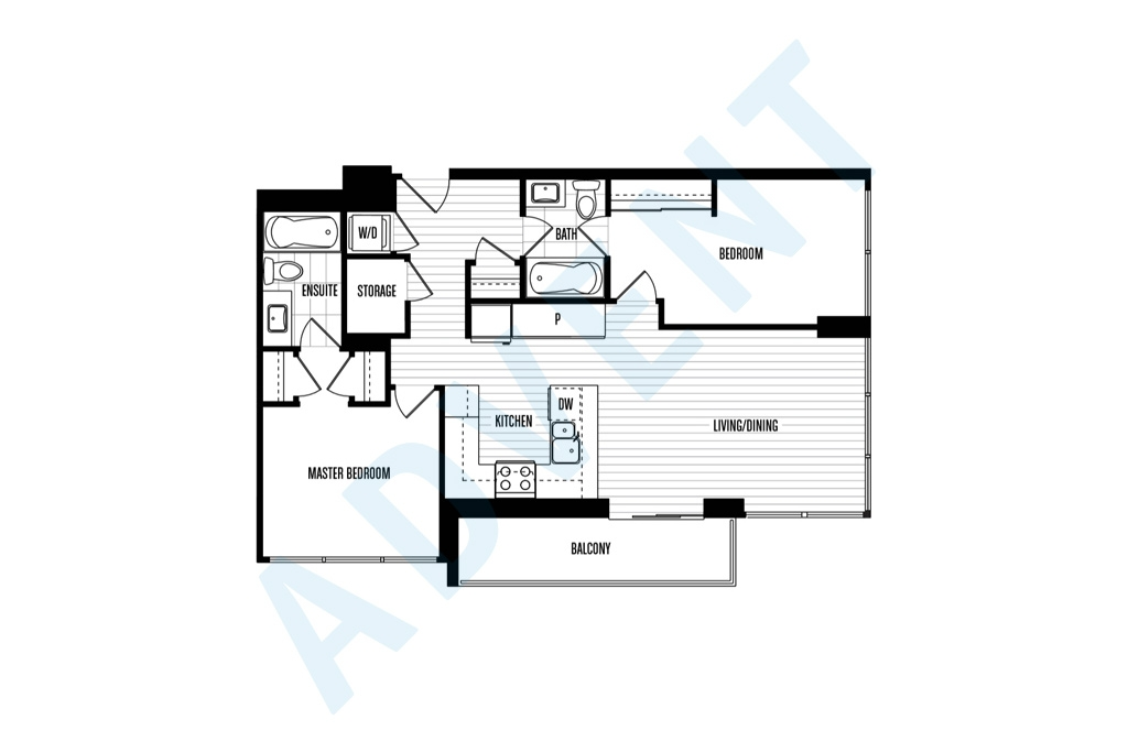 Northbank 2 bedroom apartment rental quay new westminster for Rental property floor plans