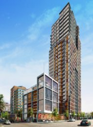 1 Bedroom Apartment Rental in Downtown Vancouver at The Maddox. 2202 - 1351 Continental Street, Vancouver, BC, Canada.