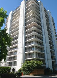 Parkside Manor 1 Bedroom Unfurnished Apartment For Rent in Metrotown. 1403 - 6455 Willingdon Avenue, Burnaby, BC, Canada.