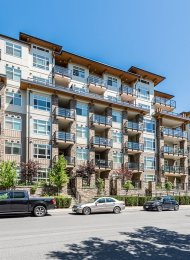 Orchid Riverside Modern 4th Floor Unfurnished 1 Bedroom Apartment Rental in Central Port Coquitlam. 411 - 2495 Wilson Avenue, Port Coquitlam, BC, Canada.