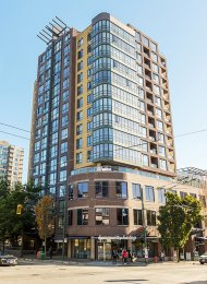Unfurnished Studio Rental With Built-in Murphy Bed at The Centro in East Vancouver. 909 - 3438 Vanness Avenue, Vancouver, BC, Canada.