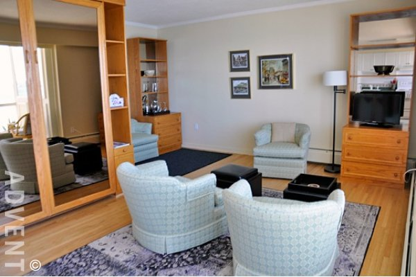 Furnished Studio Rental at Seastrand in Dundarave West Vancouver. 702 - 150 24th Street, West Vancouver, BC, Canada.