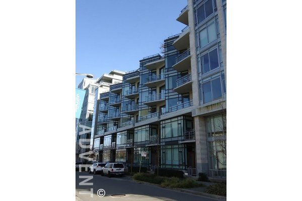 1 Bedroom Apartment Rental With Flex & Balcony at Kayak at The Village on False Creek. 203 - 12 Athletes Way, Vancouver, BC, Canada.