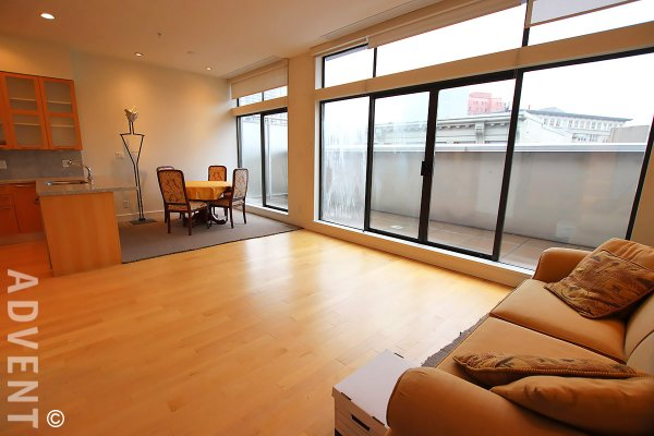 Greenshields Loft Style 2 Bedroom Unfurnished Apartment For Rent in Gastown. 503 - 345 Water Street, Vancouver, BC, Canada.