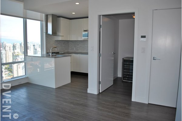 Brand New 1 Bedroom + Den & Flex City View Apartment Rental at Tate Downtown. 3302 - 1283 Howe Street, Vancouver, BC, Canada.