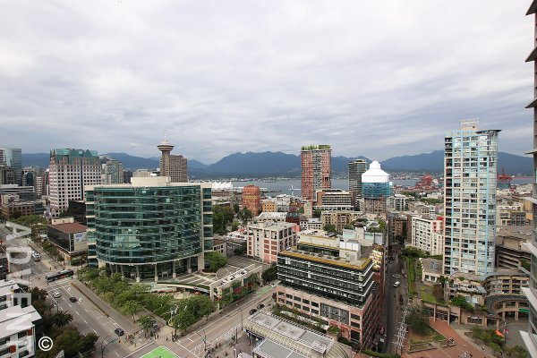 26th Floor 2 Bed With a View Apartment Rental at Spectrum in Downtown Vancouver. 2603 - 602 Citadel Parade, Vancouver, BC, Canada.