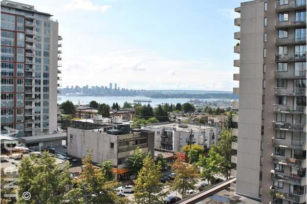 Symphony 2 Bedroom Mountain & Water View Apartment Rental in Central Lonsdale. 702 - 120 West 16th Street, North Vancouver, BC, Canada.