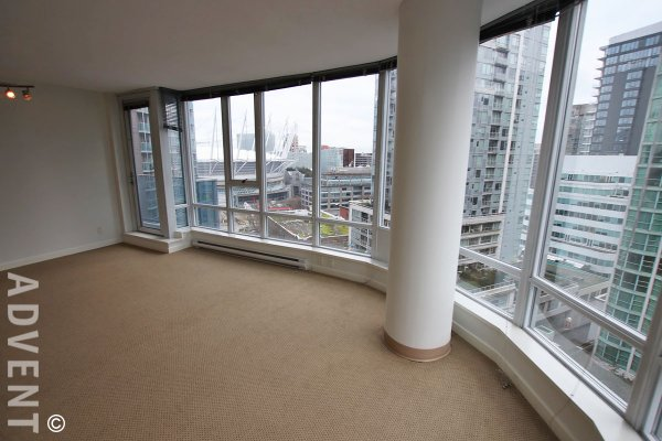 TV Towers 16th Floor 2 Bedroom Unfurnished Apartment Rental in Downtown Vancouver. 1603 - 788 Hamilton Street, Vancouver, BC, Canada.