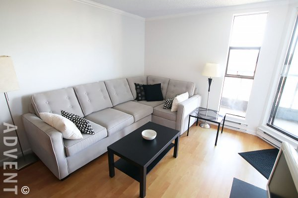 Fully Furnished 5th Floor 1 Bedroom Apartment Rental at The Californian in Vancouver's West End. 505 - 1080 Pacific Street, Vancouver, BC, Canada.