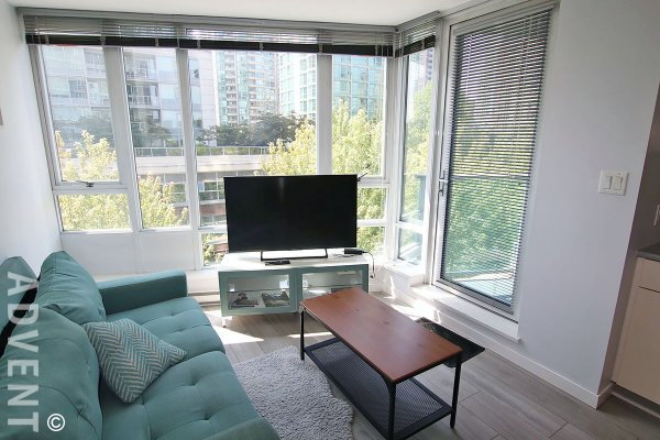 Fully Furnished 6th Floor 1 Bedroom Apartment Rental at TV Towers in Yaletown. 609 - 233 Robson Street, Vancouver, BC, Canada.