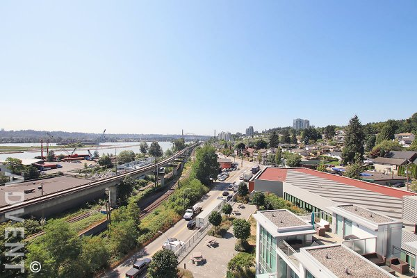 River View 7th Floor 1 Bed Apartment Rental at The Sapperton at Brewery District in New Westminster. 710 - 200 Nelson's Crescent, New Westminster, BC, Canada.