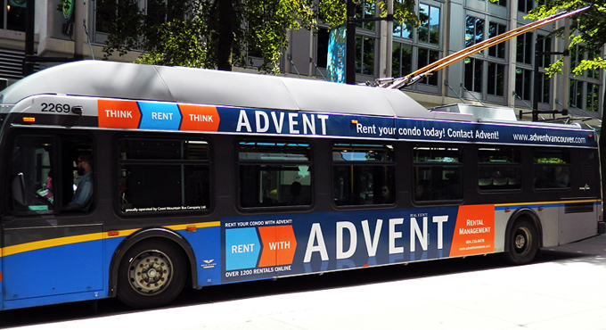 Seen the ADVENT trolley bus around town? Rent your condo with ADVENT today! Call 604.736.6478!